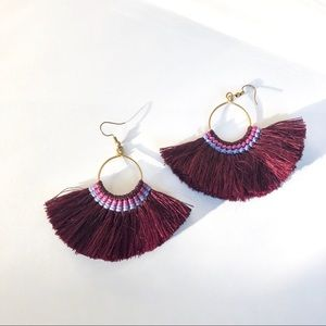 Jewelry - Brand New Burgundy Tassel Earrings w Golf Frame